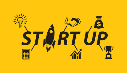Start up illustration with business icons