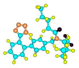 Valsartan molecular model isolated on white