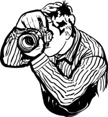 sketch of a male photographer takes pictures
