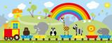 animals train and rural landscape / vectors