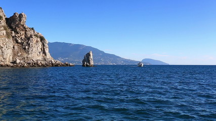 tourist ship floats by sea