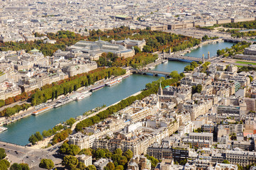 Aerial view of Paris from Eiffel Tower. France