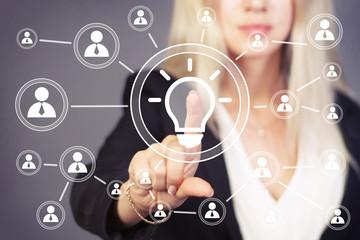 Button idea bulb business communication web.