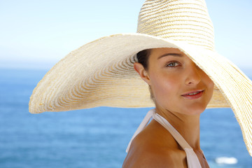 Woman with white hat