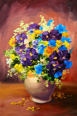 Oil painting of spring multicolored flowers in a vase on canvas