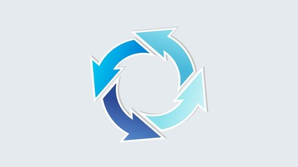 rorating circle arrows with different blue colors