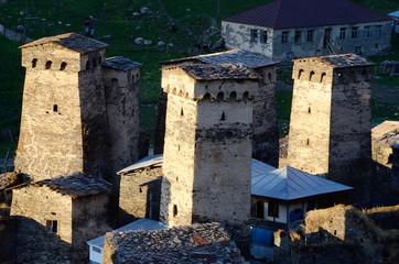 Stone towers of mountainous Ushguli village,Georgia,unesco