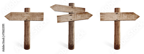 Old wooden road sign set including right, left and both sides - 78633191