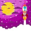Space Rocket , moon in the starry sky with space for text - 78633317