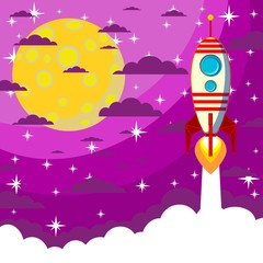 Space Rocket , moon in the starry sky with space for text