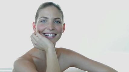 Smiling girl pausing