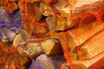 Firewood in net bag