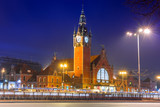 Main railway station in the city center of Gdansk, Poland
