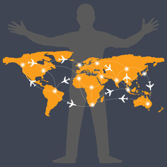 World map with airplane route infographic