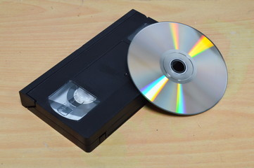 video recorder cassette and disc