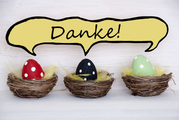 Three Easter Eggs With Comic Speech Balloon With Danke