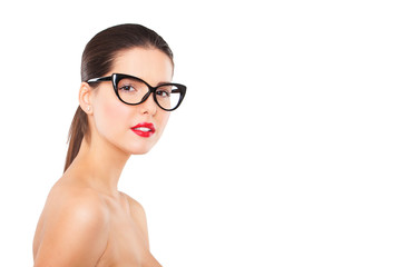 Attractive sexy woman wearing fashionable glasses