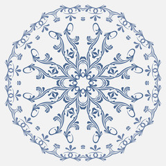 the circular blue pattern in Russian style