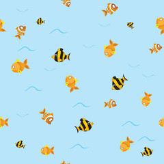 seamless pattern with fishes. vector