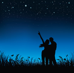 Silhouette of couple standing and watching the night sky.