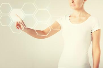 woman hand pressing virtual button