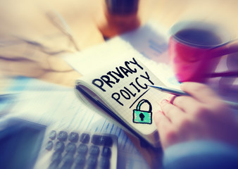 Businessman Notepad Privacy Policy Concept