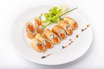 Crepes with salmon caviar