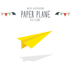 vector illustration of yellow paper plane on white background.