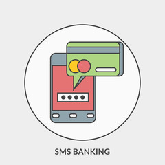 Flat design concept for SMS Banking