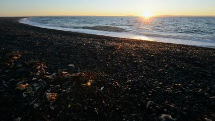 Sunset on a polar beach