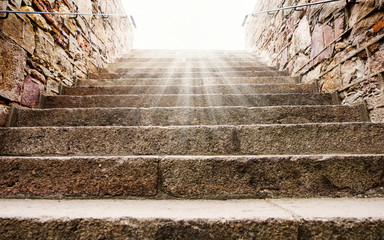old historic stone stair  with sunshine light