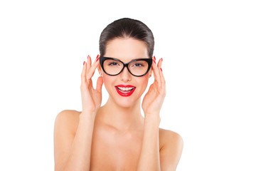 Attractive sexy smiling woman wearing fashionable glasses