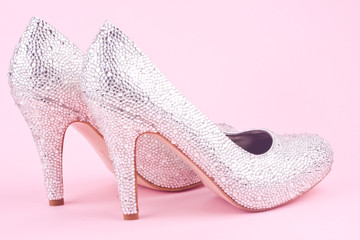 shiny high heel shoes with rhinestones