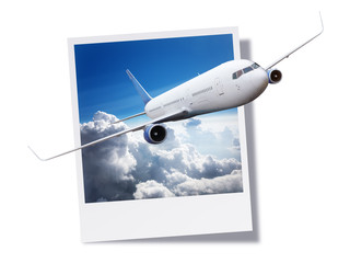 Airplane breaking free from an instant print photo or postcard