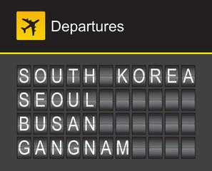 South Korea flip alphabet airport departures