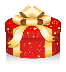 Royal Round Gift Box - Christmas Vector Illustration