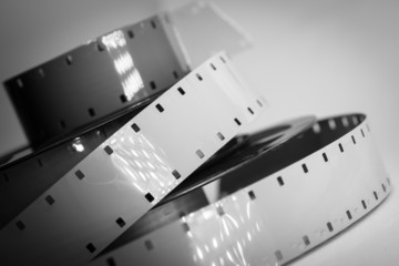 Old movie camera film reel strip