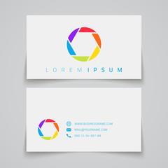 Business card template. Camera shutter conceptual logo.