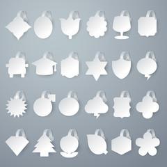 24 design of vector white wobbler on gray background.