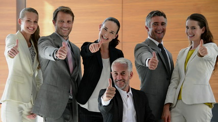 Smiling successful business team