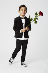 Romantic boy with rose
