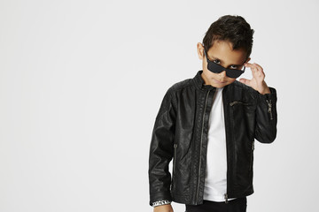 Cool young boy posing