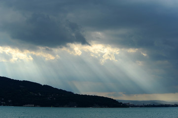 Sunbeams on water