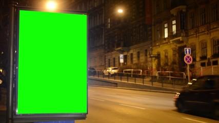 billboard - green screen - night city - urban street with cars