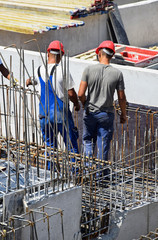 Men are working at the construction site