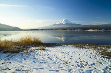Very fantastic scenery Mount Fuji on Lake Kawaguchiko was iced
