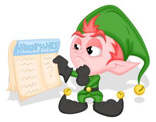 Elf holding naughty and nice list - Christmas Vector