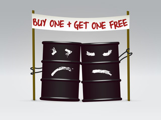 Two oil barrels on sale caricature