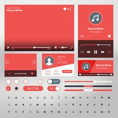 Set of flat design UI elements for website and mobile apps