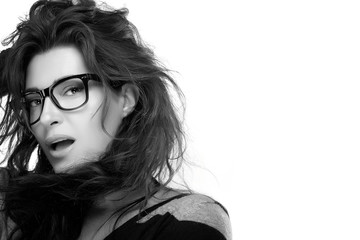 Cool Trendy Eyewear. Beauty Fashion Model Girl With Eyeglasses